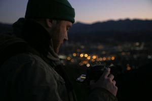 man early morning camera sunrise