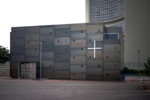 metal entrance clean facade modern architecture gray minimal light austria church