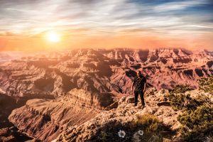 misty sunrise dramatic sky grand canyon arizona adventure canyon landscape early morning tourism