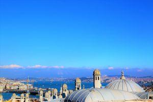 mosque landscape istanbul strait sea
