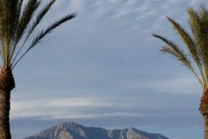 mountian view cloudy sky mountain palm trees mountain top