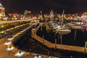 night lights night photography yachts walking water pedestrian victoria bay british