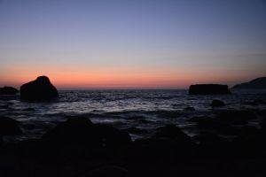 orange background sun light sea background after sunset blue sky clear sky
