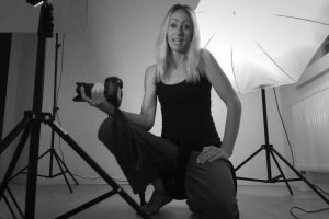 photographer person studio photography lifestyle blonde video recording camera work monochrome