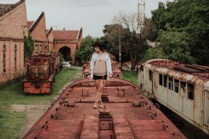 photoshoot trains fashion model pose wear daylight abandoned locomotives model