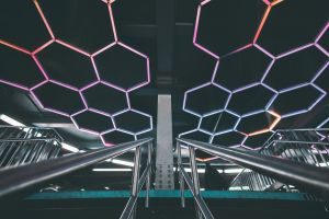 shape artsy pattern ceiling hand rail neon lights railings metal illustration design