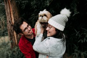 shih tzu eyewear wear female park together facial expression animal lover hugging casual