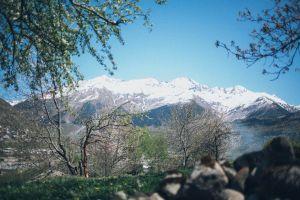 sky winter trees snow daylight mountains ice rocks glacier mountain peaks