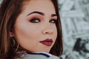 stare beautiful beauty portrait makeup model glamour looking close-up female