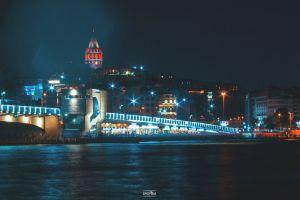 stock night city downtown curves night urban architect cobblestone street light turkish city