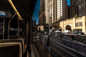 street road downtown train buildings railway city urban architecture vehicles