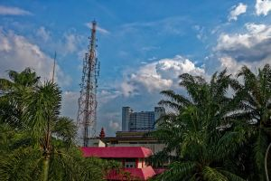 summer drone fair weather sun cell tower travel tropical aerial indonesia tree nature