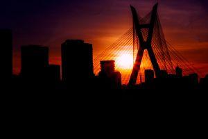 sunset sao paulo city life bridge golden