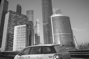 taxi city downtown skyscrapers architecture cityscape black and white moscow