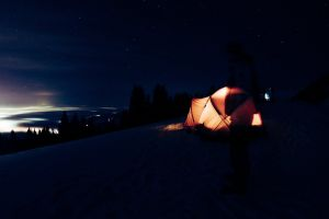 tent mountain night sky life