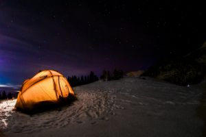 tent night sky life winter city view night night lights