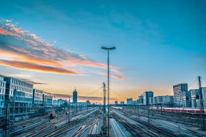 train railway platform railway station railway track railway line munich sunset railway