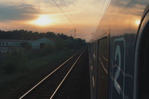 trip nature speed locomotive train reflection public transportation landscape railway sunset