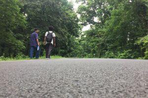 walking journey strating hiker street