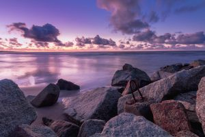 water ocean sea sunset shore rocks background landscape 4k wallpaper seashore