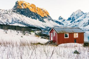 winter norway sea snow fjord fjords red red houses mountains sunset norge
