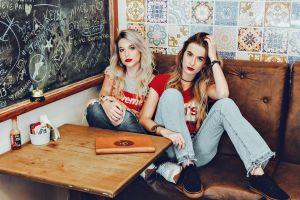women fashion people seat wear indoors fashionable room sofa style