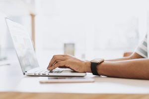 work laptop working typing device man
