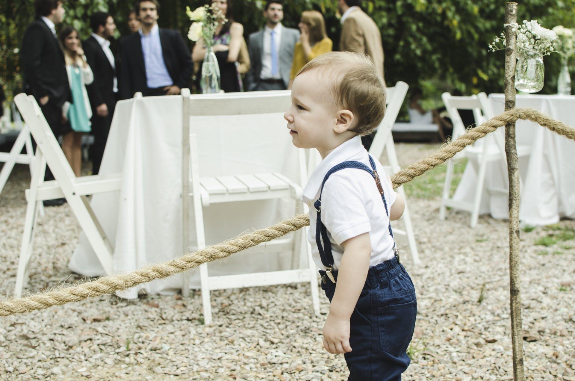 child wedding party baby boy garden outdoor wedding party