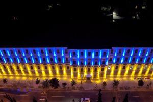 aerial shot night city buildings lights