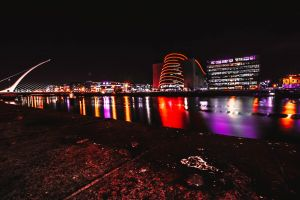 architecture night waterfront city city lights skyline bridge lights water wide angle photography