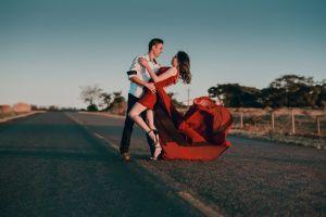 asphalt red dress dancing concrete pose couple love wedding romance daytime