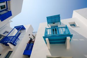 balcony home exterior architecture white perspective building blue
