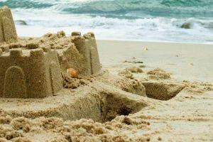 beach sand sandcastle ocean shore castle
