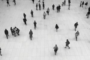 bird's eye view people walking floor black-and-white