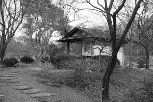 black and white garden garden house