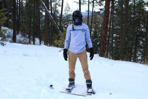 black trees gloves face mask goggles snow powder snowboarder snowboarding helmet