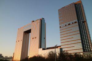 blue sky building building exterior