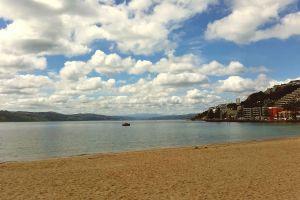 blue sky cloudy sky clouds beach sky sea new zealand
