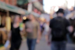 blur walking market people street