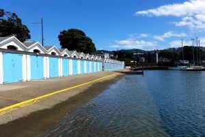 boats boat house beachlife sea ocean by the sea life esplanade promenade blue sky