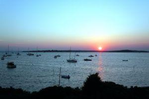 boats sunset boat