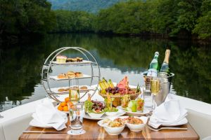 bottles beach plate delicious dining meal reflection watercraft recreation water
