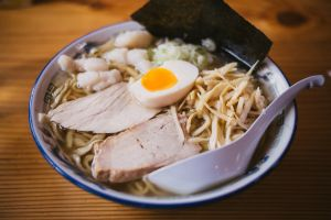 bowl meat spoon delicious ramen egg chicken japanese food soup hot