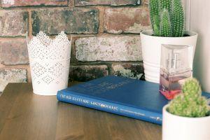 brick texture coffee book coffee table still life indoors cactus design perfume wood interior design