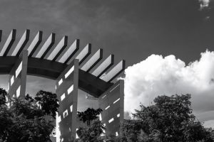 building black and white architecture modern clouds black-and-white daylight sky