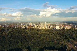 buildings cityscape aerial shot city