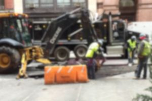 bulldozer fix construction site road workers blur construction people