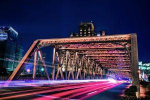 cars architecture time-lapse light downtown urban car lights highway vehicles bridge