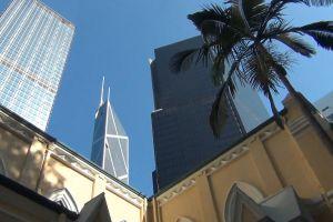 church low angle shot city buildings