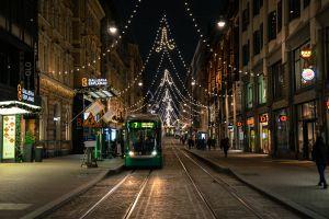 city trees finnish shops road winter royalty free traffic free photos street